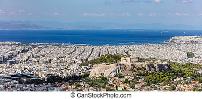 Athens, Greece. Athens Acropolis and city aerial view from Lycavittos hill
