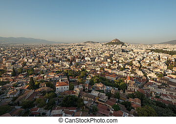Athens, Greece - Athens panorama with Mount Lykavittos on...