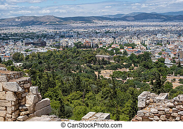 Athens, Greece cityscape and Hephaestus temple aerial view,