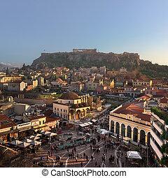 Aerial View of Monastiraki Square and Acropolis in the...