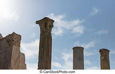 Athens Greece. Hadrians library columns, blue sky...