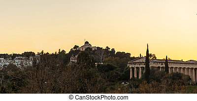 Athens Greece. Hephaestus temple and old national...