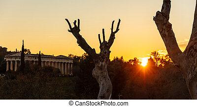 Athens Greece. Hephaestus temple at sunrise time, sun rising...