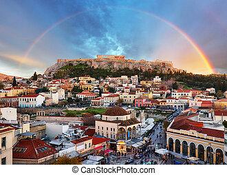 Athens, Greece - Monastiraki Square and ancient Acropolis...