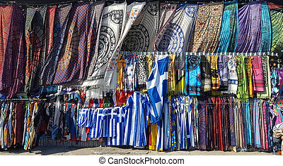 Multicolored textile of scarf and pareo and flags for sale...