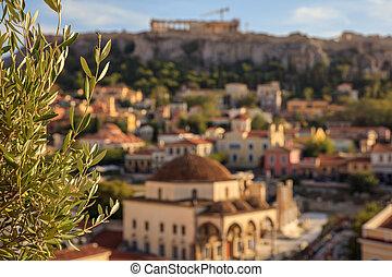 Athens, Greece. Olive tree on Acropolis and Monastiraki abstract background