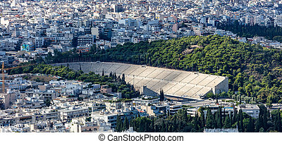 Athens, Greece. Panathinaiko stadium and Athens aerial view