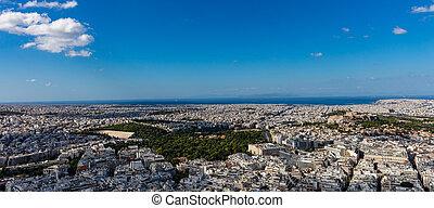 Athens, Greece. Panathinaiko stadium and Athens city aerial view