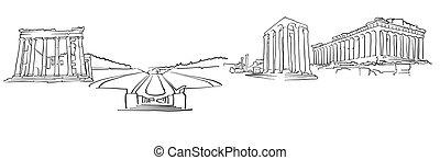 Athens Greece Panorama Sketch