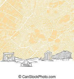 Athens Greece Skyline Map