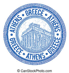 Grunge rubber stamp with Parthenon and the word Athens, Greece written inside, vector illustration