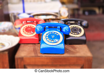 Athens, Greece. Vintage telephones at Monastiraki, an open...