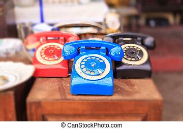Athens, Greece. Vintage telephones at Monastiraki, an open air flea market