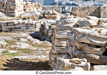 Details of ancient greek architecture on Acropolis citadel in Athens