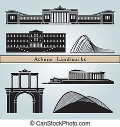 Athens landmarks and monuments isolated on blue background...