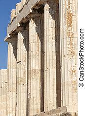 athens., parthenon, acropolis, columns., griekenland