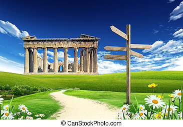 Athens - Hellenic culture: Athens landmark with blue sky and...