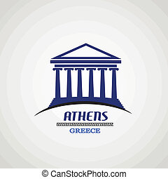 Athens in vitage style poster, vector illustration