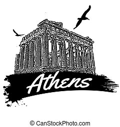 Athens poster - Athens in vitage style poster, vector ...