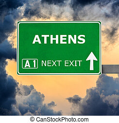ATHENS road sign against clear blue sky