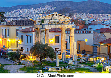 Athens. Roman forum. - The historical ruins of the Roman ...