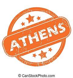 Athens round stamp