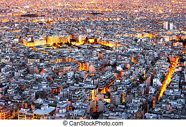 Athens skyline aerial view at night. Greece