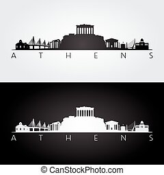 Athens skyline and landmarks silhouette, black and white...