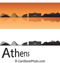 Athens skyline in orange background in editable vector file