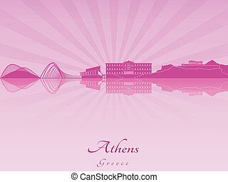 Athens skyline in purple radiant orchid