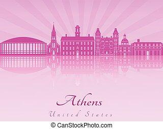 Athens skyline in purple radiant