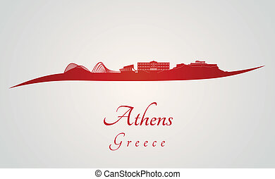 Athens skyline in red