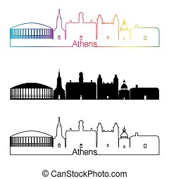 Athens skyline linear style with rainbow