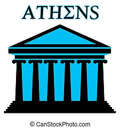 Athens symbol with Parthenon icon building on white...