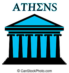 Athens symbol with Parthenon icon building on white background, vector illustration