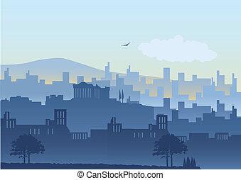 Athens - An illustration of Athens skyline