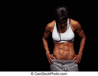 athlète, abs, femme, musculaire