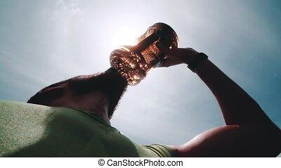 athlète, après, eau, boire, intense, exercice, homme