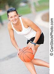 athlète, boule basket-ball, joué