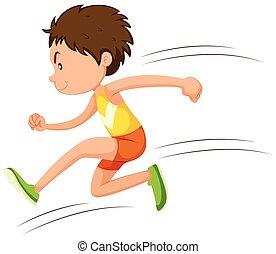 athlète, course, courant, homme