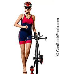 athlète, cyclisme femme, blanc, ironman, cycliste, triathlete, fond, isolé, triathlon