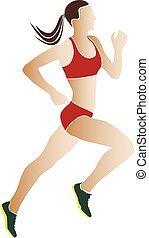 athlète, femme, coureurs