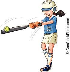 athlète, femme, jouer base-ball