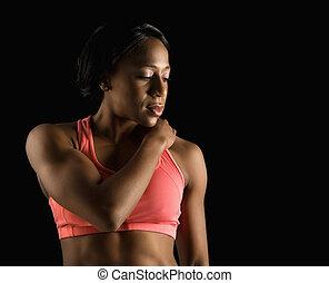 athlète, femme, resting.