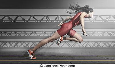 athlète, fonctionnement femme, track.