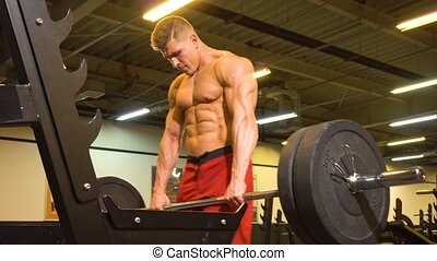 athlète, homme, dos, levage, barre disques