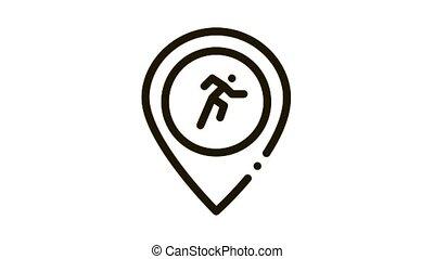 athlète, icône, coureur, animation, geolocation