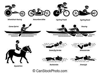 athlète, icons., sports, handicapé, crosse, courses, handicapé, figures, jeux