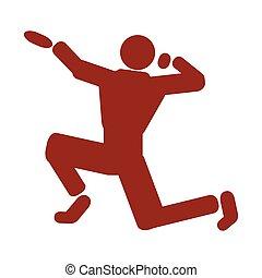 athlète, isolé, icône
