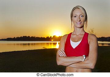 athlète, jeune, femme